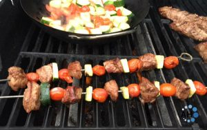 Grilled Veggie and Sirloin Kebabs