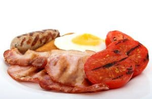 Eggs, Ham & Sausage with Seared Tomatoes